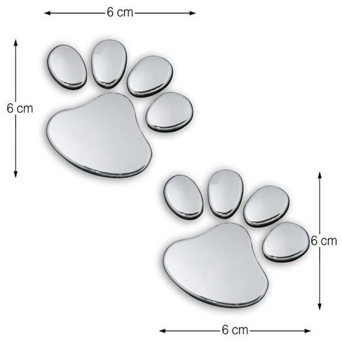 Dewtreetali Car Sticker Cool Design Paw  3D Animal Dog Cat Bear Foot Prints Footprint 3M Decal Car Stickers Pair Silver Gold