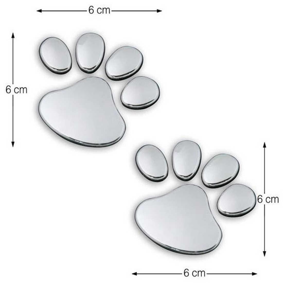 Dewtreetali автомобиля Стикеры классный дизайн Paw 3D животных собака кошка Медведь отпечатки ног след 3 М наклейки на автомобиль пара цвет серебристый, золотой
