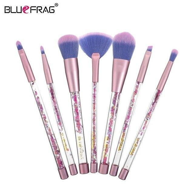 BLUEFRAG 7pcs Makeup brushes Set Transparent Colorful Handles Super Soft Hair Makeup Tools Eyebrow Eyeliner Powder MakeUp Brush