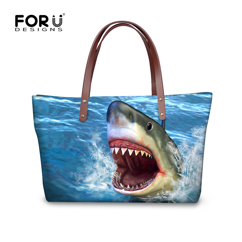 FORUDESIGNS Women Handbags 3D Shark Fish Style Ladies Shoulder Bags Famous Brand Top-handle Bag Waterproof Animal Tote Bags interworld