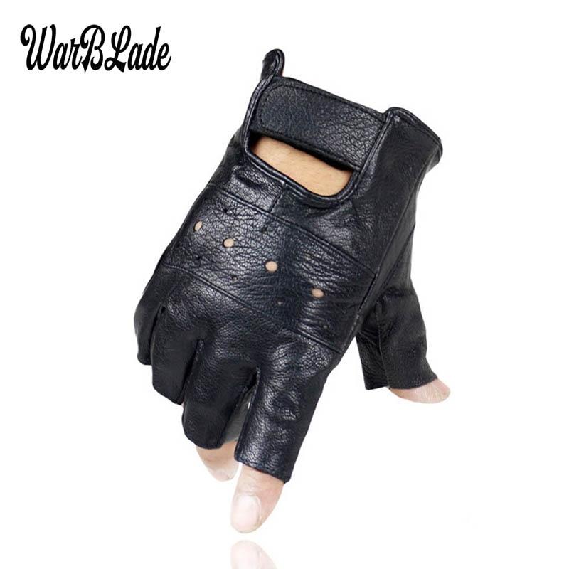 WarBLade High Quality Men Genuine Leather Gloves Slip-resistant Luvas Half Finger Sheep Leather Fingerless Gym Fitness Gloves