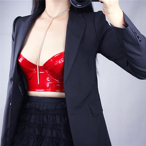 Image 4 - Patent Leather Corset Bright Red Black With A Steel Ring Elastic Bottoming Bustiers Sling Bra PU Imitation Leather VG06
