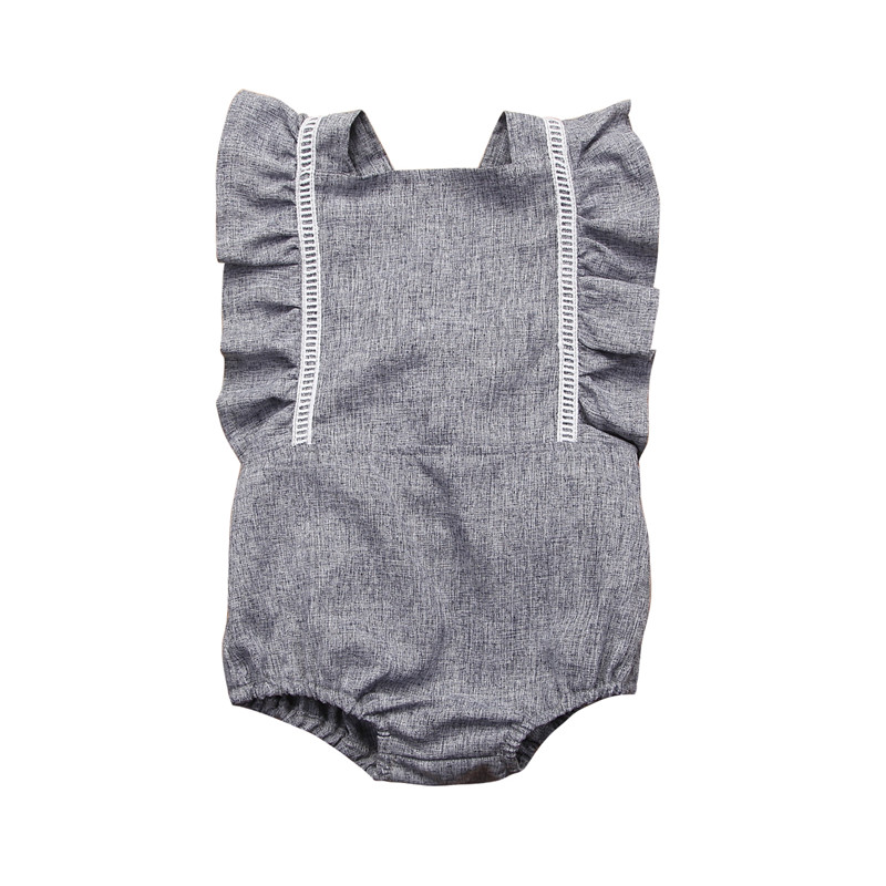 Newborn Baby Girls Romper One Pieces Jumpsuit Outfit Infant Toddler Girl Sleeveless Backless Rompers newborn infant baby girl clothes strap lace floral romper jumpsuit outfit summer cotton backless one pieces outfit baby onesie page 7