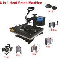 עיצוב חדש 8 ב 1 קומבו חום העיתונות מכונה, 110 V-240 V העברת חום/מכונה סובלימציה, מדפסת סובלימציה עבור ספל/כיפה/חולצת טי Et