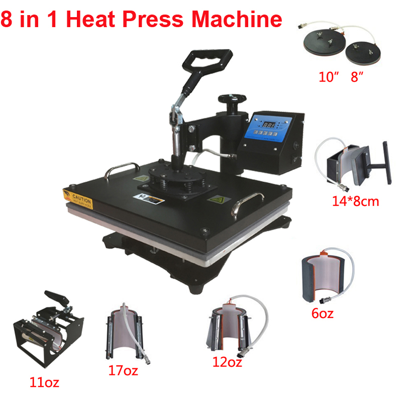 New Design 8 In 1 Combo Heat Press Machine,110V-240V Heat Transfer/Sublimation Machine,sublimation printer for Mug/Cap/TShirt Et