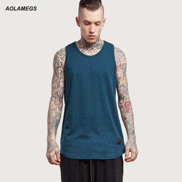 Aolamegs Regatas Homens Confortáveis De Algodão De Bambu Camiseta Homme Cor Sólida T Camisas Sem Mangas 2017 Hip Hop Moda Streetwear