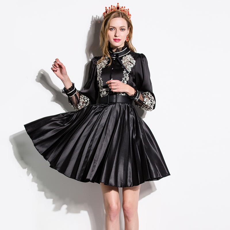 Classic retro dresses uk style long lantern sleeve black