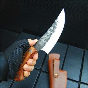Image 5 - EVERRICH JapaneseHigh stal węglowa nóż obozowy kucie nóż ręcznie przez szefa kuchni tang, w plasterkach z nożem kuchennym, nóż rzeźnicki
