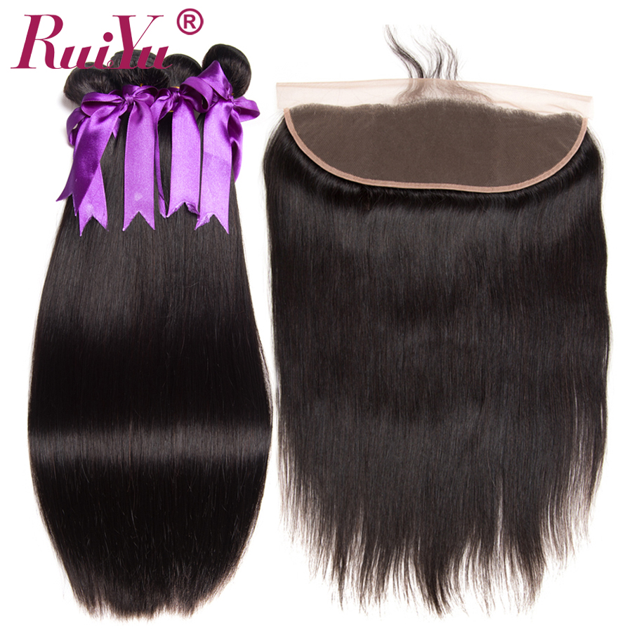 Malaysian Hair Bundles With Frontal 4x13 Lace Frontal With Bundles Deals RUIYU Non Remy Straight Human