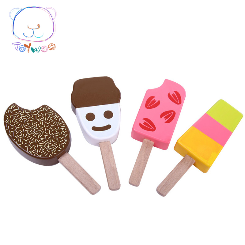 4Pcs/lot Kids Kitchen Toys Ice Cream Kitchen Food Toys Children Wooden Toys Play House Gift Toys For Preschool Girl Boy