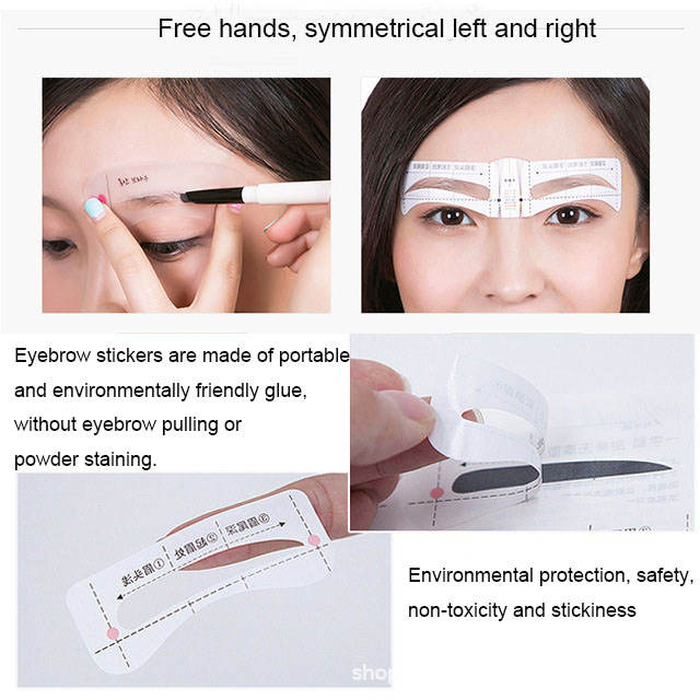 10pcs set eyebrow sticker Grooming Kit beauty makeup tools eyebrow drawing shaper Template AC068 in Eyebrow Stencils from Beauty Health