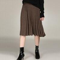 Плиссированная юбка женская 100% кашемира вязаный однотонный комплект с эластичной резинкой на талии юбка 3 цвета высокого качества кашемиро