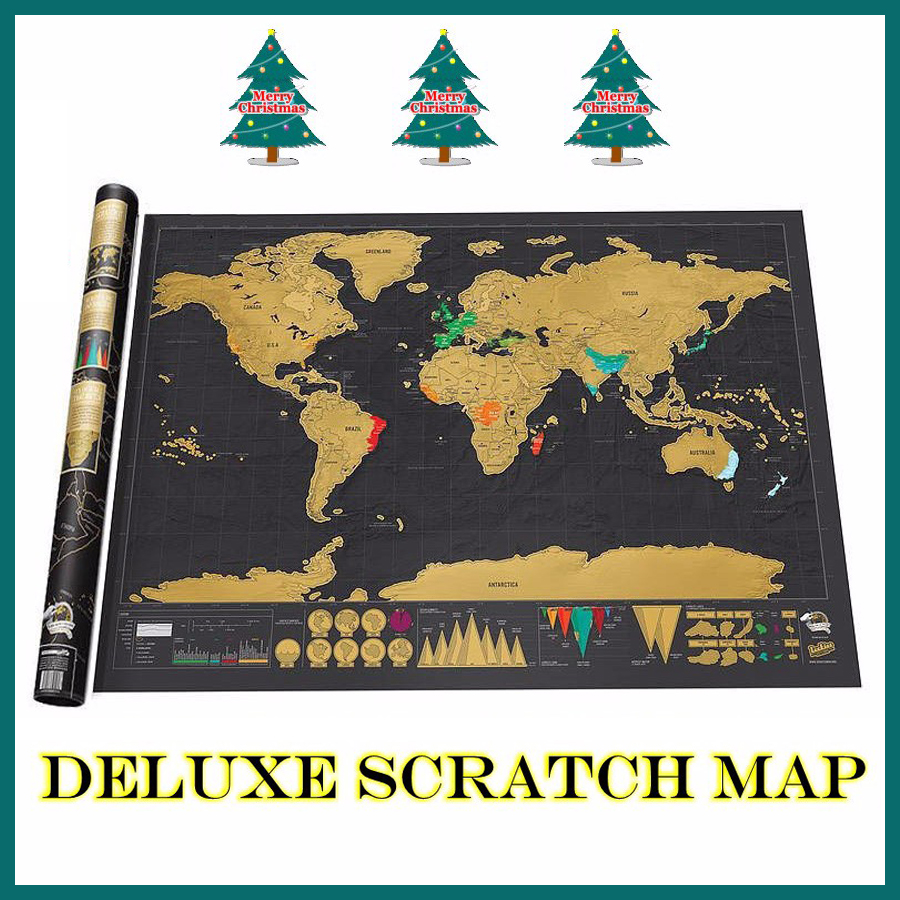 Travel Deluxe Scratch Off Map Erase Black World Mapa For Kids Traveler Geography Novelty Creative Gift Wall Poster Mundi Rascar