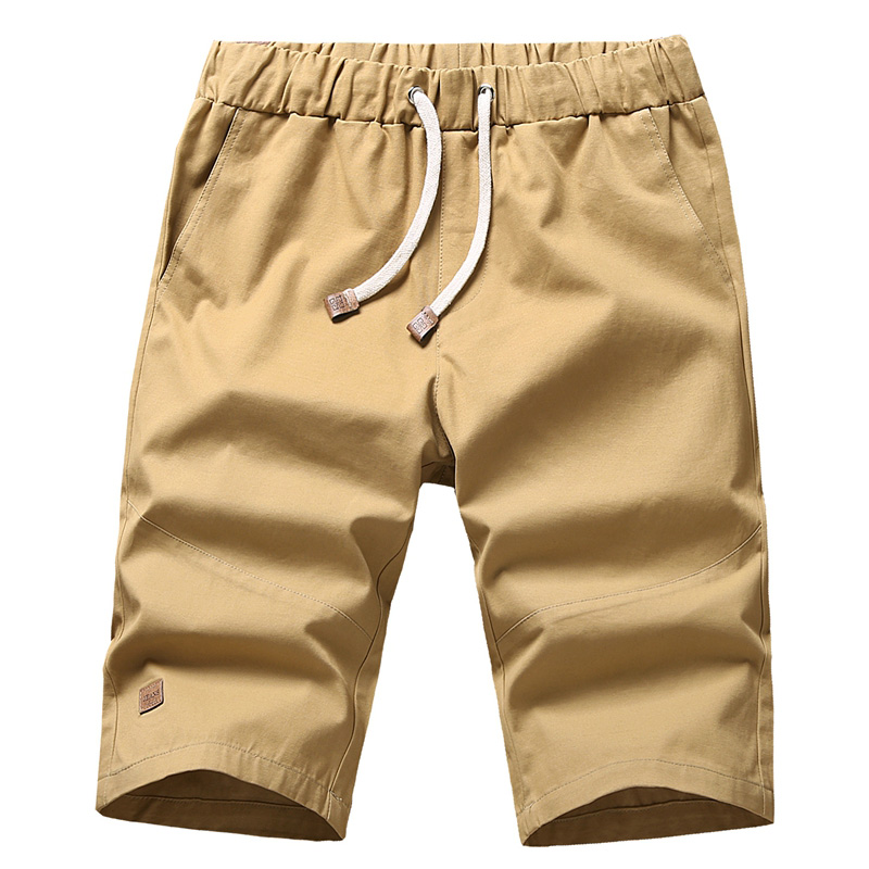 Summer Cotton Fabric Loose Shorts For Men Casual Knee Length Baggy Stretch Khaki Male Bermuda Short Pants Fitness Trousers CYL23