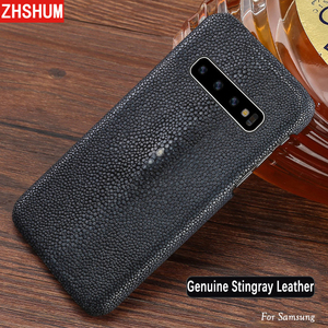 Image 1 - Handmade Genuine Stingray Leather Case For Samsung S10 Plus Lite S10 Note 9 8 S9 Luxury Skin Case Cover for Galaxy S8 Plus + E s