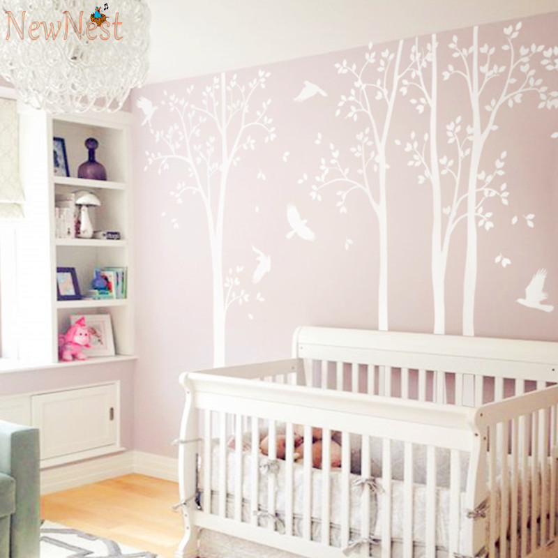 Five Huge White Tree Wall Decal Vinyl Stickers - Birds Decals - Baby Nursery Bedroom Wall Art Mural, Kids Wall Sticker Wallpaper