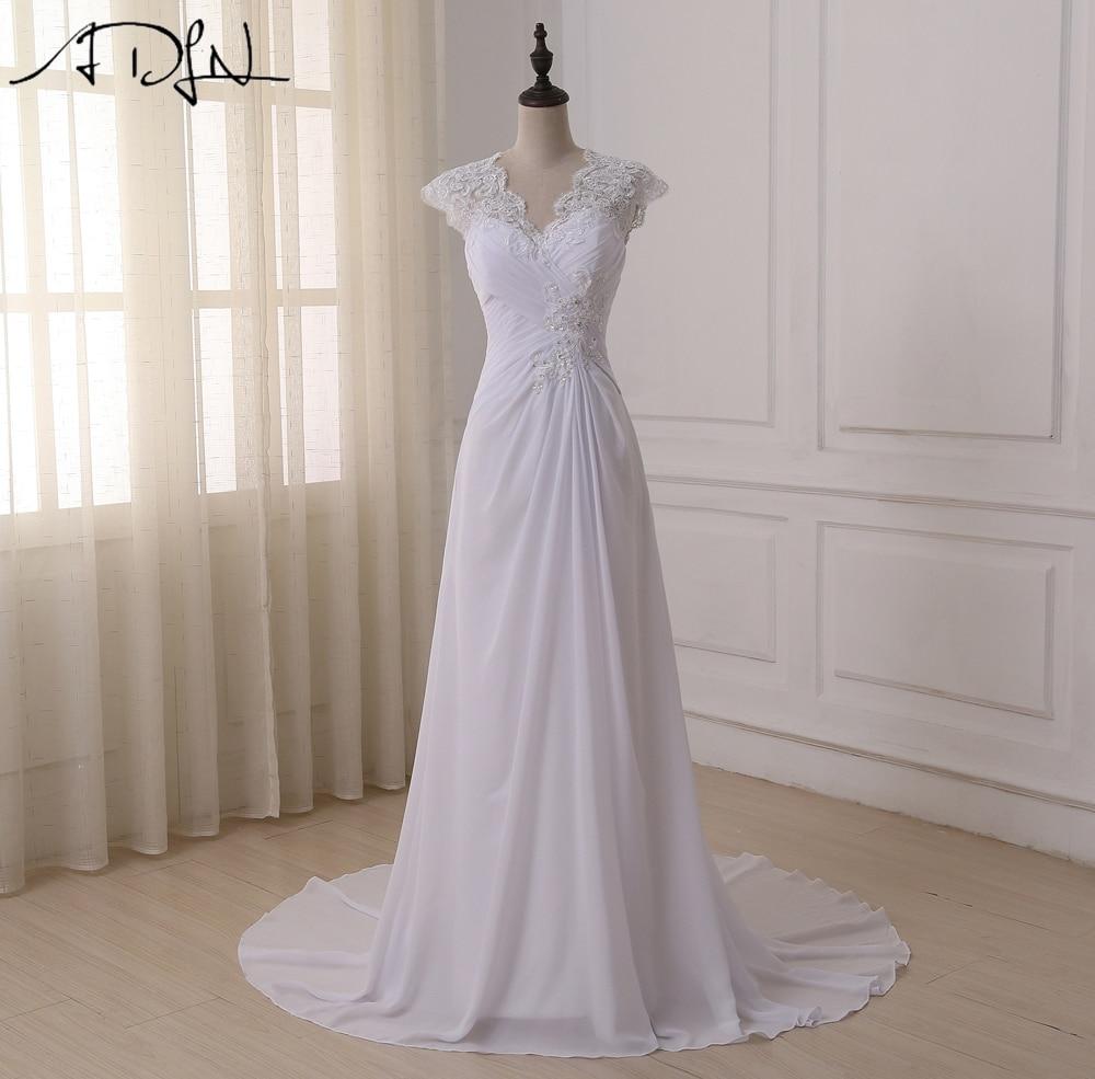 Adln 2017 in stock plus size wedding dress elegant v neck for Wedding dress in stock