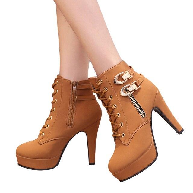 MCCKLE Plus Size Ankle Boots Women Platform High Heels Female Lace Up Women's Shoes Buckle Woman Short Boot Ladies Footwear 5