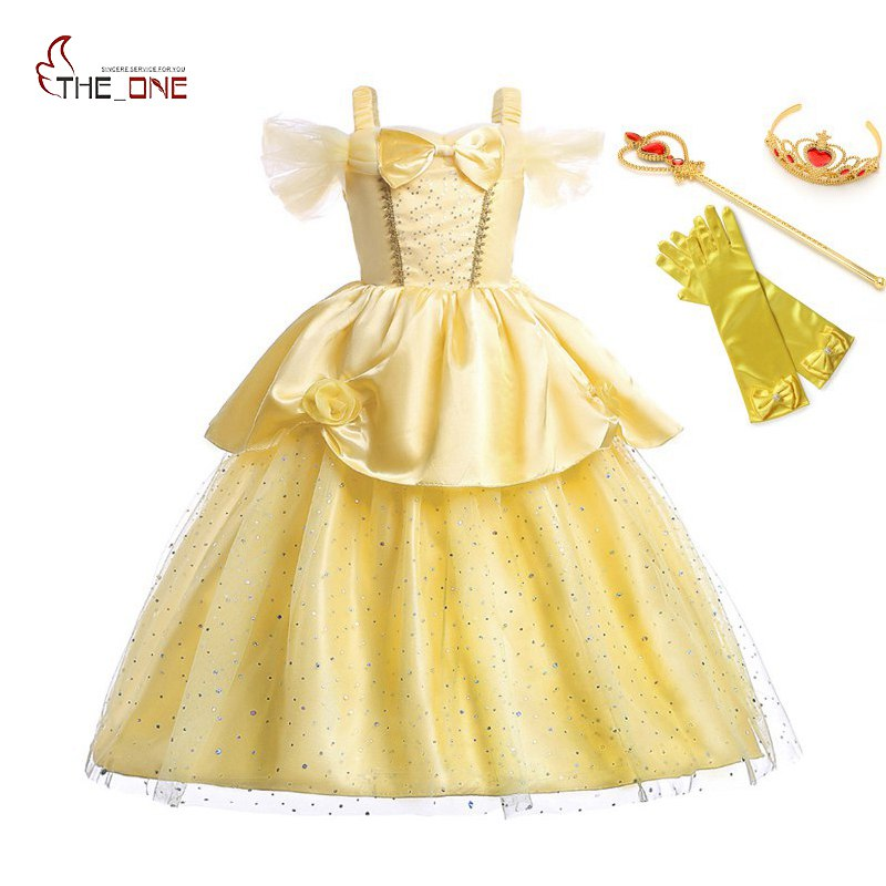 MUABABY Girls Princess Belle Dress up Kids Off Shoulder Sequin Straps Long Dress Beauty and The Beast Halloween Cosplay Costume girls beauty and the beast cosplay ball grown kids party halloween fancy dress up outfits girls tutu full length sparkle dress