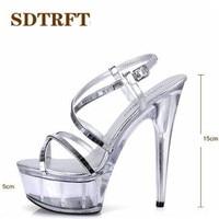 SDTRFT Plus:34 43 44 45 46 SUMMER Stilettos zapatos mujer Sliver Cross strap sandals 15cm thin heels platform shoes woman pumps