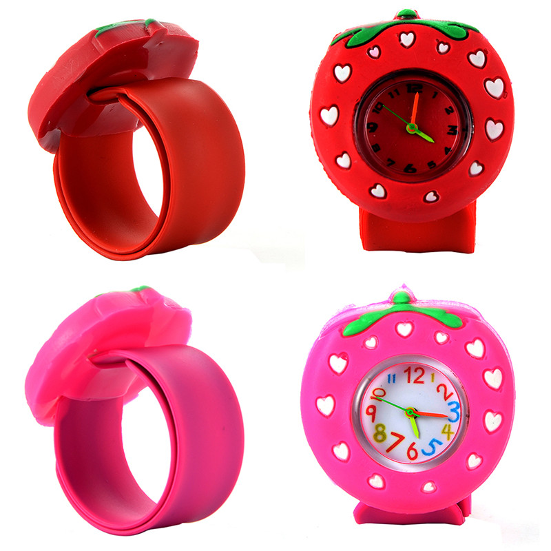 Cute Kids Watch Cartoon-Watch Strawberry Lovely Fashion Student Waterproof Wristwatch Red Silicone Band Children Watches
