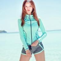 2018 Set of 3 Rash Guard Women Zip Long Sleeve Swimsuit For Women Rashguard Surf Swim Shirt Shorts Swimwear Women Swimming Suit