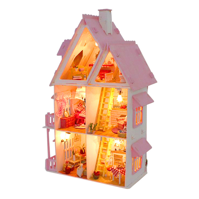 Cute Big Sized Three Layer DIY Pink Wooden Doll House