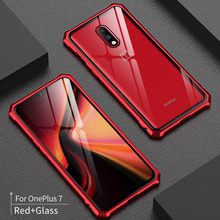 One Plus 7 Pro Bumper Tempered Glass Back Cover with Aluminu