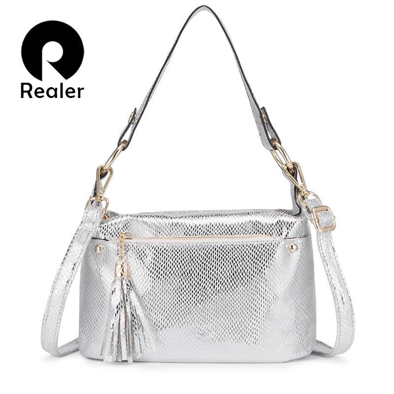 REALER Women Handbag Female Shoulder Bag PU Leather Luxury Handbag Women Bags Designer With Tassel Crossbody Bags For Ladies