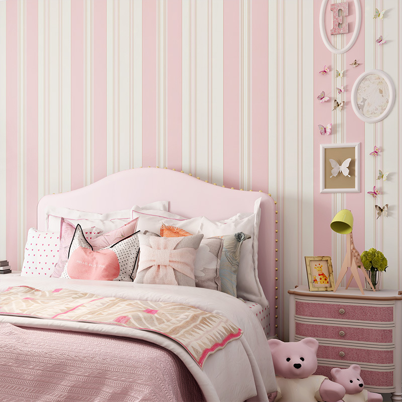Buy colomac modern 3d striped non woven - Pink and white striped wallpaper bedroom ...