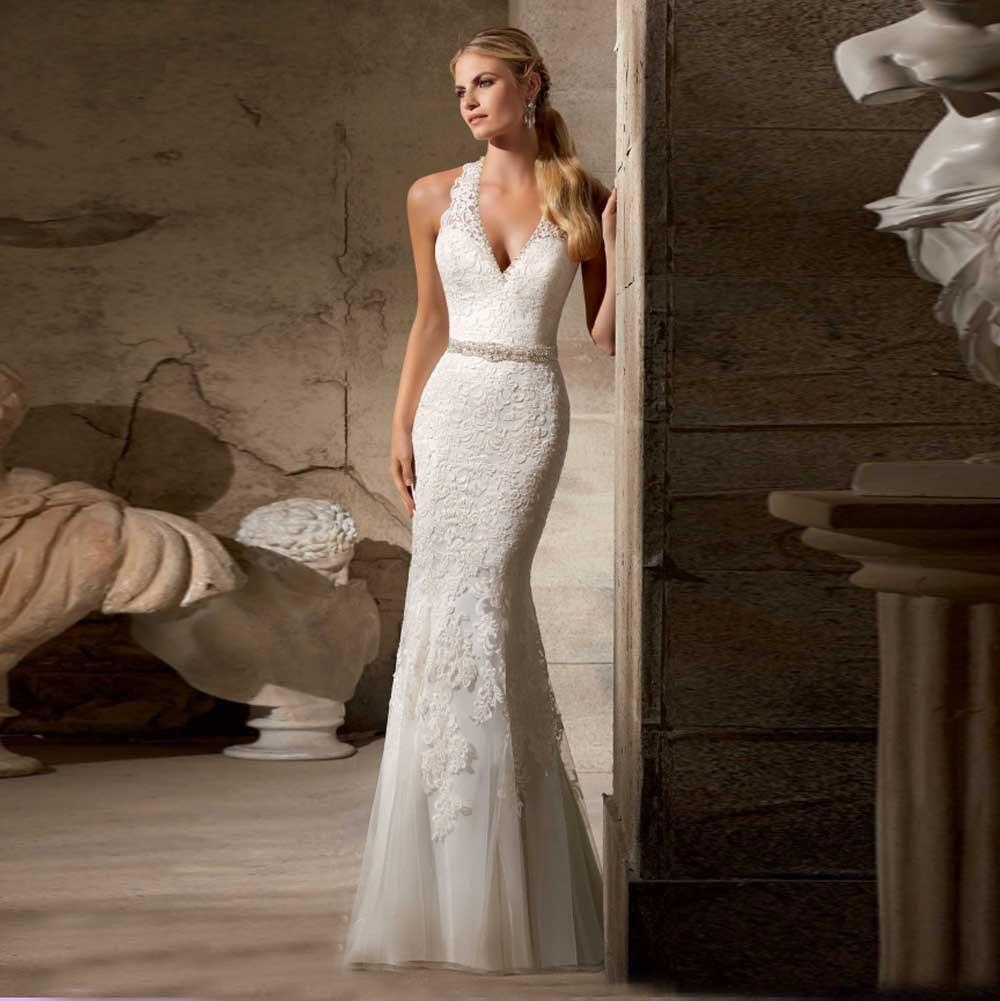 Cheap White Ivory Wedding Dresses Mermaid Lace Appliques: 2015 V NECK LACE APPLIQUES MERMAID WEDDING GOWNS WHITE