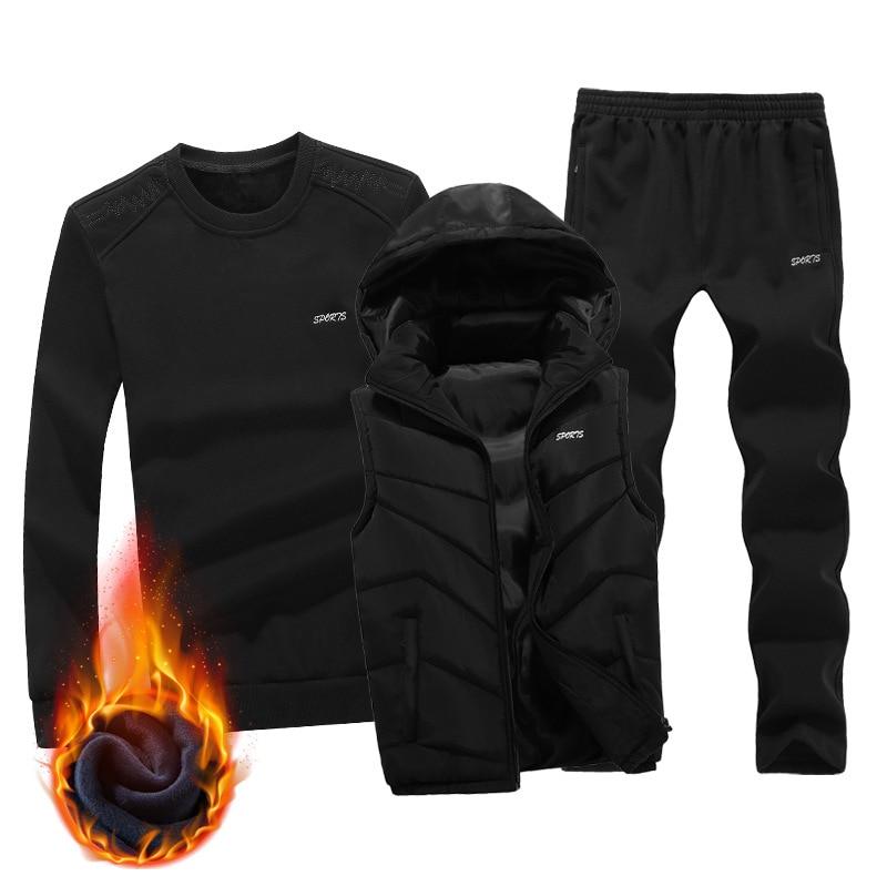 2019 New Fashion Autumn Winter Men Sporting Suit Hoodie Vest+Sweatshirt+Pant Sportswear 3 Piece Set Tracksuit For Men