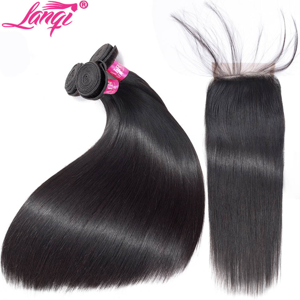Brazillian Straight Hair Bundles With Closure Non Remy Brazilian Human Hair Weave Bundle With Closure 28 inch 3 Bundles With Closure