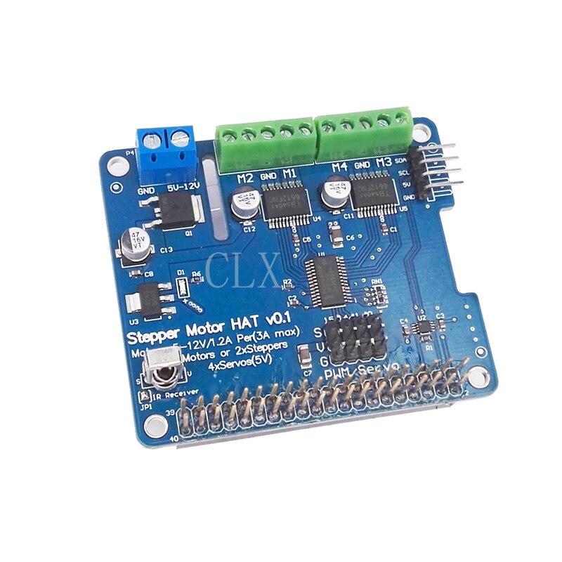 US $20 8  Raspberry Pi 3 Motor HAT Full function Robot Expansion Board  Support Raspberry Pi 3/2B/B+ (Stepper / Motor / Servo/ IR Remote)-in Demo  Board