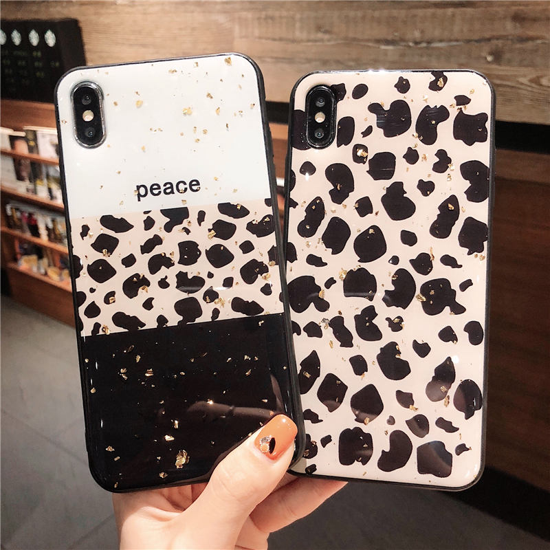 Luxury Gold Foil Bling Leopard Phone Case For iPhone X XS Max XR Soft TPU Cover For iPhone 7 8 6 6s Plus Glitter Case Coque in Fitted Cases from Cellphones Telecommunications