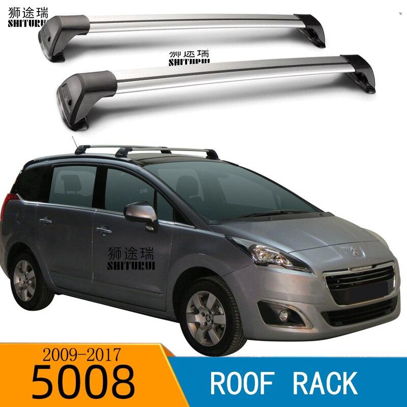 SHITURUI 2Pcs Roof Bars For PEUGEOT 5008 2009-2017  Aluminum Alloy Side Bars Cross Rails Roof Rack Luggage Carrier