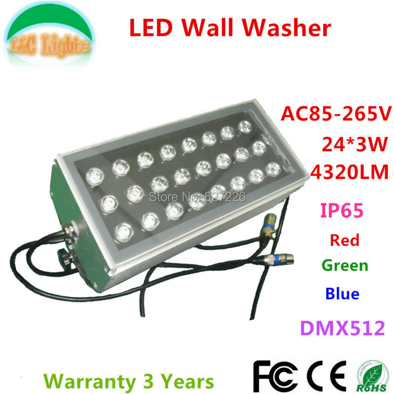 24*3W Changeable LED Wall Washer AC85-265V Outdoor Spotlights IP65 waterproof Flood light DMX512 Projector light 4PCs a lot 6pcs lot 24x4w 4in1 led wall washer light outdoor rgbw led flood light dmx 512 led bar light 90v 240v led stage light