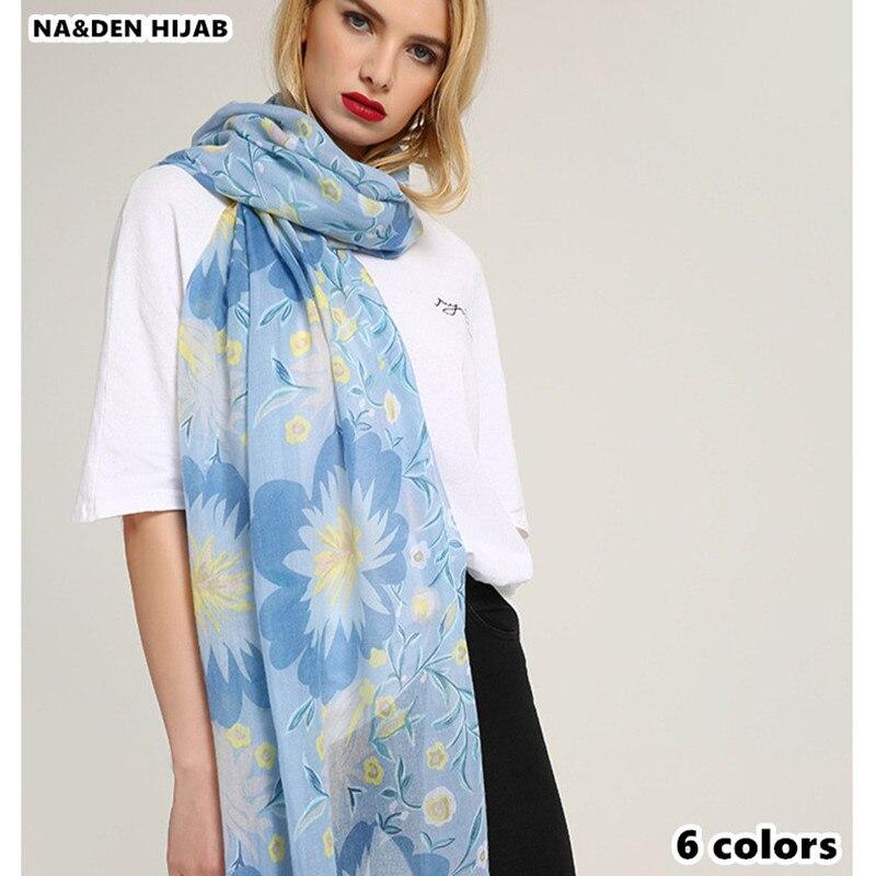 2018 new scarf spring flower shawl soft brand Euro popular women scarves fashion muslim print hijab scarfs muffler wrap high