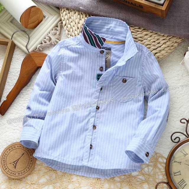 Новорожденный ребенок синий полосатый высокое качество длинным рукавом малышей младенческой мода хлопок рубашка топы