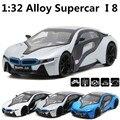 Alta simulación tijera puerta i8 concept car 1:32 modelos de automóviles de aleación back to back potencia fotoeléctrico adornos envío gratis
