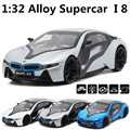Simulação de alta tesoura porta i8 concept car 1:32 modelos de carros de liga de volta ao poder fotoelétrico enfeites frete grátis