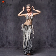 2018 Tribal Belly Dance Clothes 3pcs Outfit Sexy Embroid Tops Hip Belt and Pants Women Tribal Dance Costume