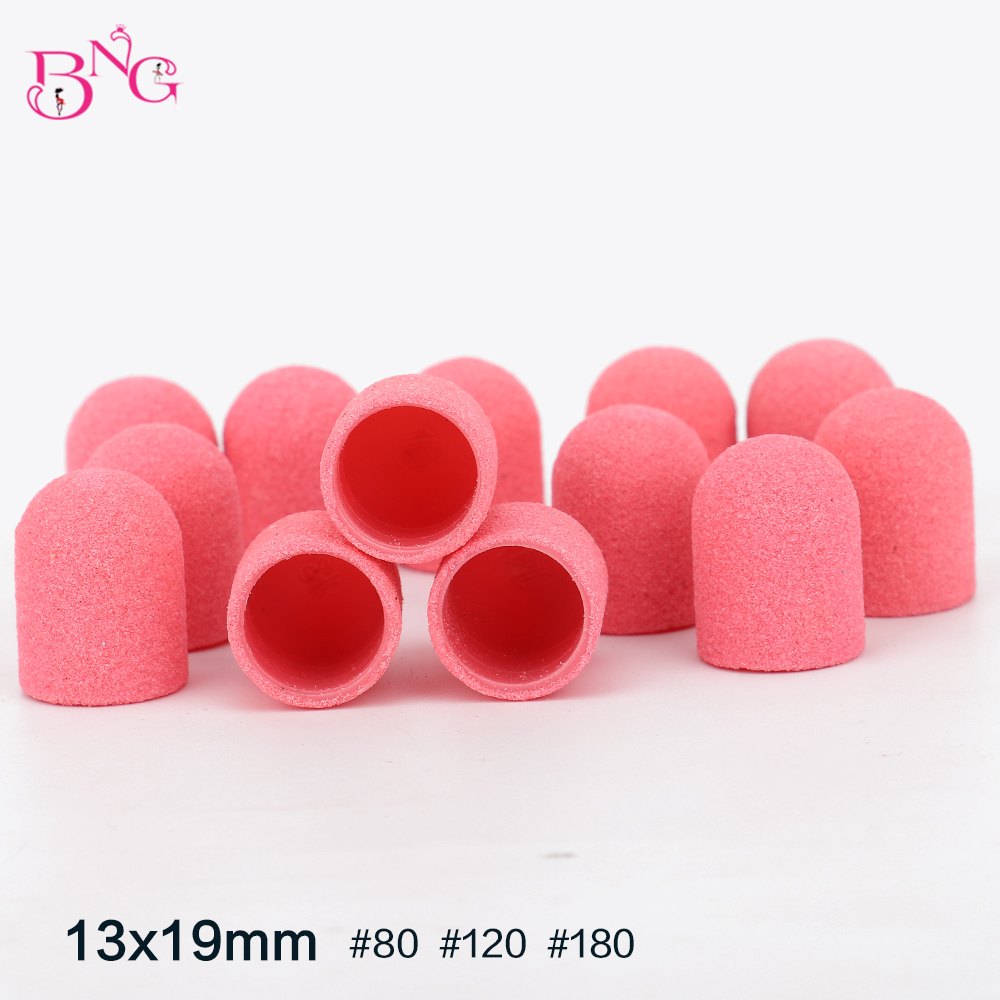 BNG 10pcs Hot Sell Pink Blue 13 19mm Nail Art Sanding Caps Bands Manicure Pedicure Nail Tools File For UV Gel Acrylic Polish in Electric Manicure Drills from Beauty Health