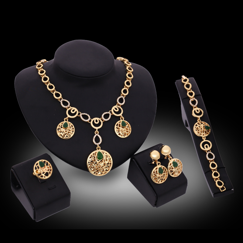 Unique Design Women Gold Color Jewelry Sets Crystal Round Shape Chain Pendant Necklace Earrings Bracelet Ring In From
