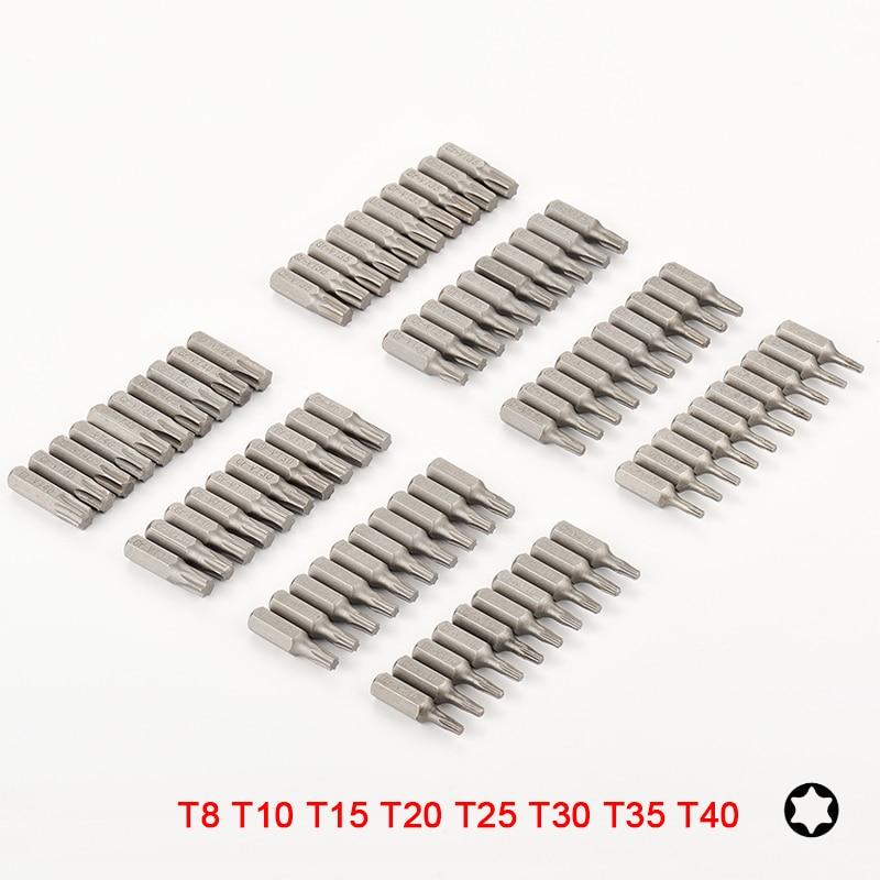 10 Or 8pcs Torx Screwdriver Bit Set 1/4 Hex Shank Star T8 T10 T15 T20 T25 T30 T35 T40 Screw Driver Bits For Home Hand Tools
