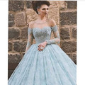 Light Blue Long Sleeve Evening Party Gowns Vestido De Festa Longo Scoop Neck Beaded Appliques Ball Gown Lace Prom Dresses 2017