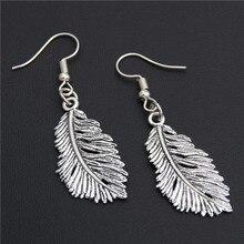 1(пара) Античные Серебряные Листья в форме пера подвески серьги ручной работы для женщин ювелирные изделия E1943