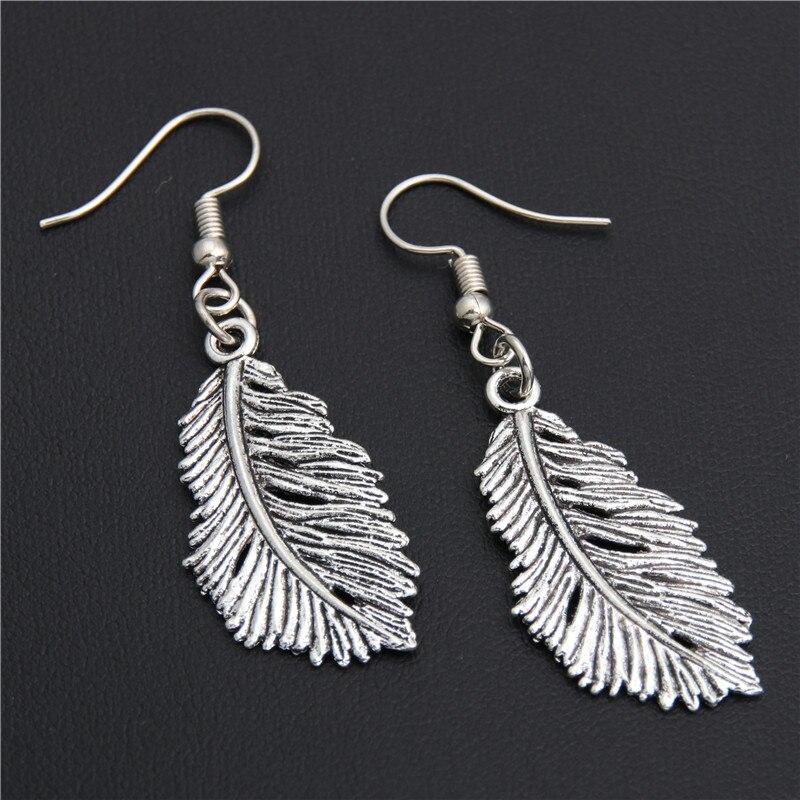 1 пара серебряных подвесок в форме листьев и перьев, серьги ручной работы для женщин, ювелирные изделия E1943