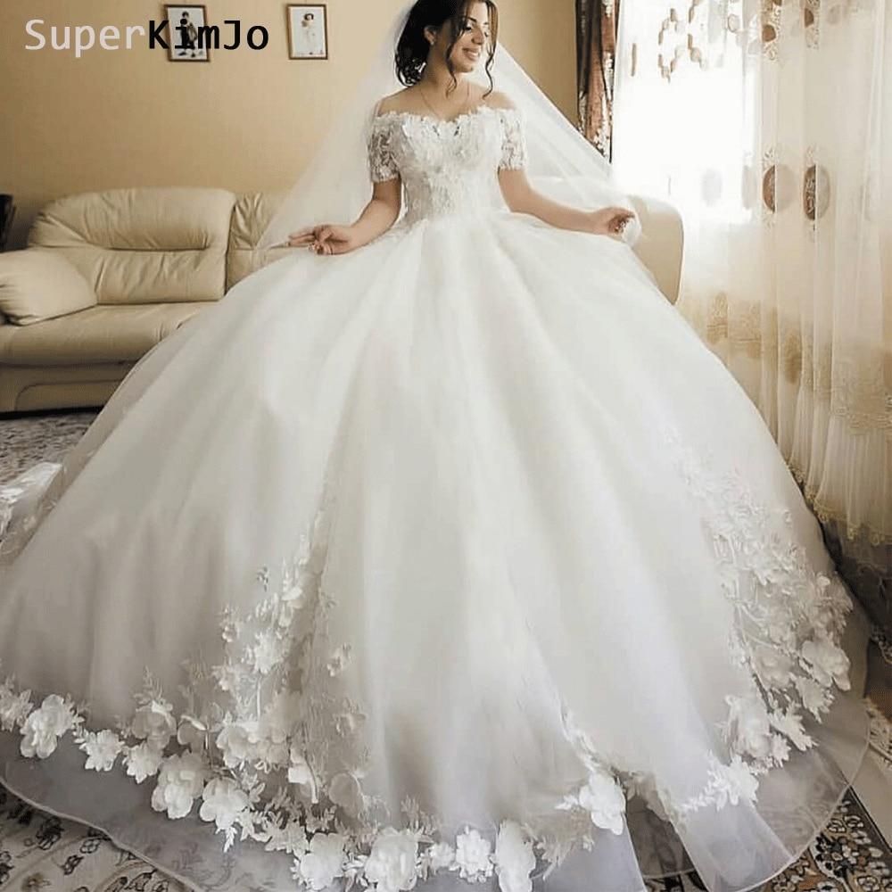 SuperKimJo 3D Flowers Wedding Dresses Bridal Gown 2019