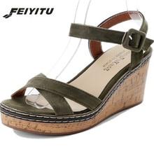 FeiYiTu Women sexy wedge sandals pumps platform high heels Suede  leather woman chaussure zapatos mujer Drop shipping Eu 35-40